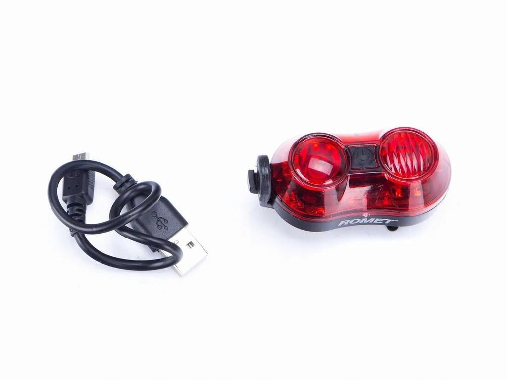 Lampa tył 2-LED USB mod.R-202 czarna blister/logo ROMET