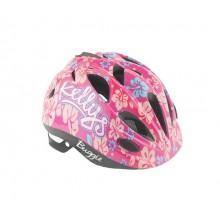 Kask-rowerowy-BUGGIE-pink flowers-dziecięcy
