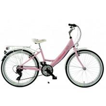 """Rower Kands 24"""" AMELKA ALUMINIOWY CTB różowo-biały"""